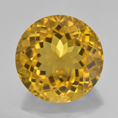 20.84 ct 圆形切面 Honey Yellow  黄水晶 宝石 18.11 mm  (Product ID: 329003)