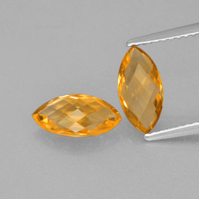Yellow Golden Citrine Gem - 1.1ct Marquise Checkerboard (double sided) (ID: 364667)