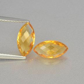Golden Orange Citrine Gem - 1.1ct Marquise Checkerboard (double sided) (ID: 364670)