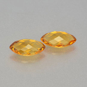 Golden Orange Citrine Gem - 1.1ct Marquise Checkerboard (double sided) (ID: 364671)