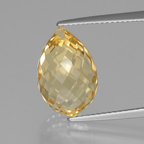 Yellow Golden Citrine Gem - 8.9ct Briolette with Hole (ID: 366802)