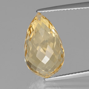 Yellow Golden Citrine Gem - 9.8ct Briolette with Hole (ID: 366835)