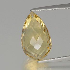 Yellow Golden Citrine Gem - 7.9ct Briolette with Hole (ID: 367021)