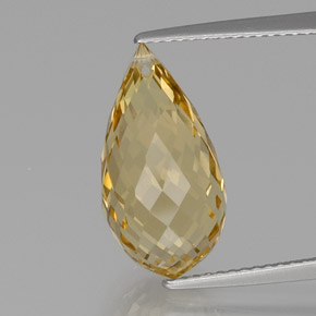 Yellow Golden Citrine Gem - 7.2ct Briolette with Hole (ID: 367028)