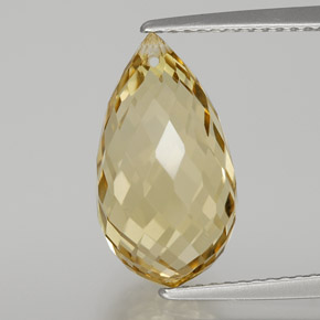 Golden Citrine Gem - 6.7ct Briolette with Hole (ID: 367101)