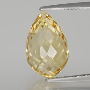 Yellow Golden Citrine Gem - 6.7ct Briolette with Hole (ID: 367102)
