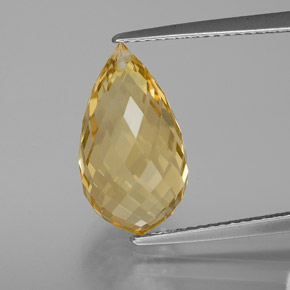 7ct Briolette with Hole Yellow Golden Citrine Gem (ID: 367153)