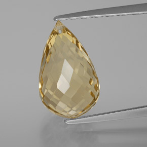 Yellow Golden Citrine Gem - 8.2ct Briolette with Hole (ID: 367185)