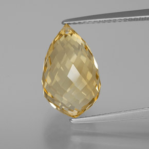 Light Brownish Golden Citrina Gema - 7.6ct Corte Briolette con Agujero (ID: 367187)