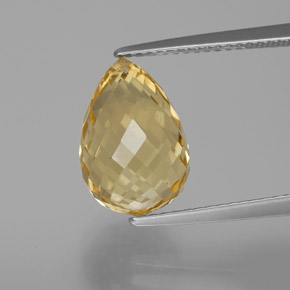 Yellow Golden Citrine Gem - 6.1ct Briolette with Hole (ID: 367205)