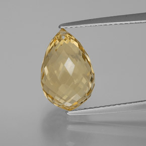 Yellow Golden Citrine Gem - 6.3ct Briolette with Hole (ID: 367208)