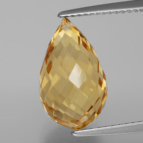 Golden Citrine Gem - 6.2ct Briolette with Hole (ID: 367627)
