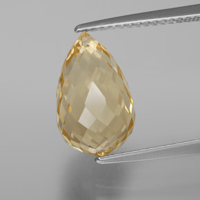 Yellow Golden Citrine Gem - 5ct Briolette with Hole (ID: 367641)