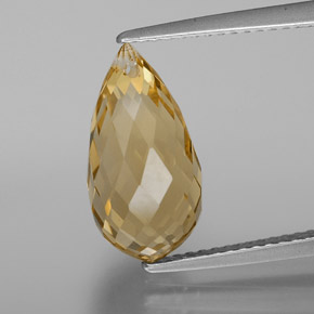 Yellow Golden Citrine Gem - 4.7ct Briolette with Hole (ID: 367648)
