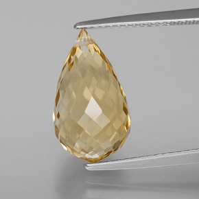 Yellow Golden Citrine Gem - 6.1ct Briolette with Hole (ID: 367698)