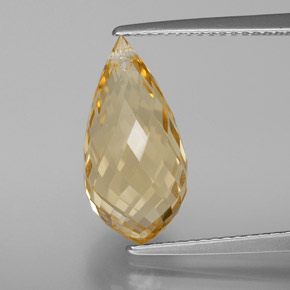 Yellow Golden Citrine Gem - 5.5ct Briolette with Hole (ID: 367701)