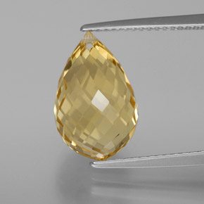 Yellow Golden Citrine Gem - 6.5ct Briolette with Hole (ID: 367707)