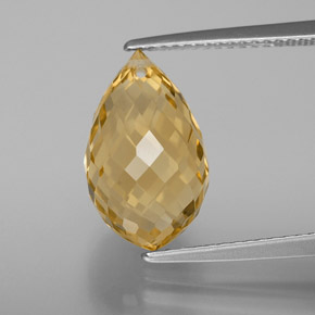 Yellow Golden Citrine Gem - 6.1ct Briolette with Hole (ID: 367708)