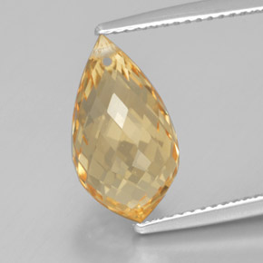 Yellow Golden Citrine Gem - 5.1ct Briolette with Hole (ID: 367738)