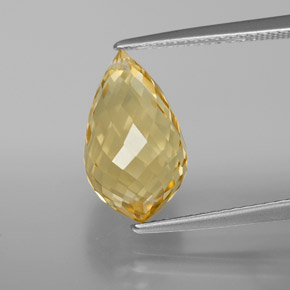 Yellow Golden Citrine Gem - 5.4ct Briolette with Hole (ID: 367818)