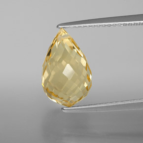 Yellow Golden Citrine Gem - 4.7ct Briolette with Hole (ID: 367819)