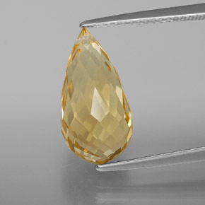 Yellow Golden Citrine Gem - 5.9ct Briolette with Hole (ID: 367826)