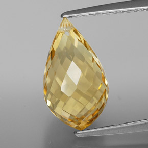 Golden Citrine Gem - 5ct Briolette with Hole (ID: 367832)