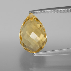Yellow Golden Citrine Gem - 4.8ct Briolette with Hole (ID: 367879)