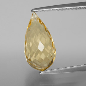 4.53 ct Briolette with Hole Yellow Golden Citrine Gemstone 14.48 mm x 7.4 mm (Product ID: 367880)