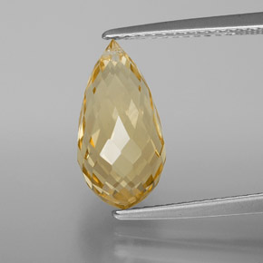 Yellow Golden Citrine Gem - 3.9ct Briolette with Hole (ID: 367894)