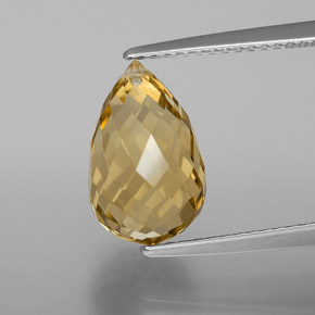 Yellow Golden Citrine Gem - 4.4ct Briolette with Hole (ID: 367900)