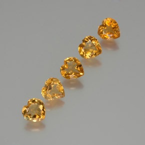 Yellow Golden Citrine Gem - 0.8ct Heart Facet (ID: 370954)