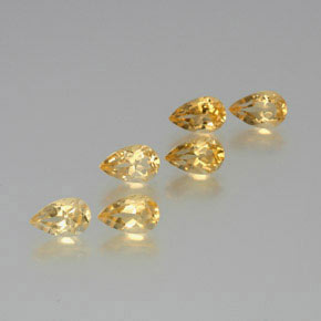 Yellow Golden Citrine Gem - 0.9ct Pear Facet (ID: 371381)