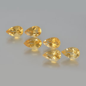 Yellow Golden Citrine Gem - 0.9ct Pear Facet (ID: 371583)