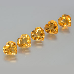 Deep Orange-Gold Citrina Gema - 1ct Forma de corazón (ID: 371616)