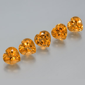 Yellow Golden Citrine Gem - 1.2ct Heart Facet (ID: 371617)
