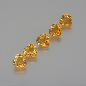 Deep Orange-Gold Citrina Gema - 1ct Forma de corazón (ID: 371746)