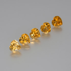 Deep Orange-Gold Citrina Gema - 1.1ct Forma de corazón (ID: 371792)