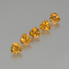 Yellow Golden Citrine Gem - 1.1ct Heart Facet (ID: 371800)