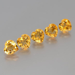 Yellow Golden Citrine Gem - 1.1ct Heart Facet (ID: 371884)