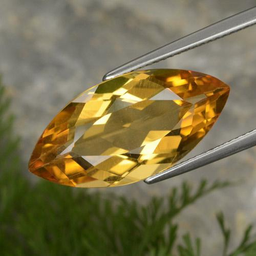 Medium Orange-Gold Citrina Gema - 10.9ct Forma marquesa (ID: 376753)