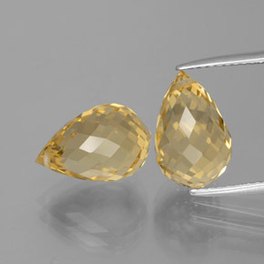 Yellow Golden Citrine Gem - 4.4ct Briolette with Hole (ID: 385440)