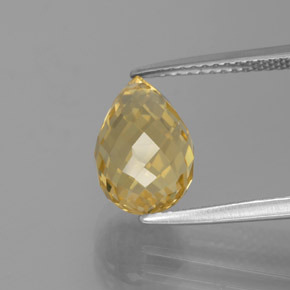 3.7ct Briolette with Hole Medium Gold Citrine Gem (ID: 385441)