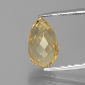 4.6ct Briolette with Hole Medium Gold Citrine Gem (ID: 385446)