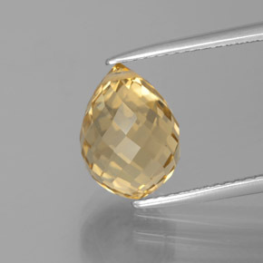 Yellow Golden Citrine Gem - 4.4ct Briolette with Hole (ID: 385448)