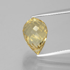 Yellow Golden Citrine Gem - 4.7ct Briolette with Hole (ID: 385564)