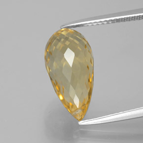 Yellow Golden Citrine Gem - 6.1ct Briolette with Hole (ID: 385567)
