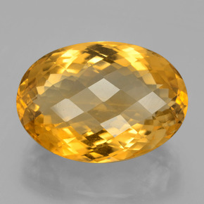 24.77 ct Oval Checkerboard Yellow Golden Citrine Gemstone 21.52 mm x 15.1 mm (Product ID: 396678)