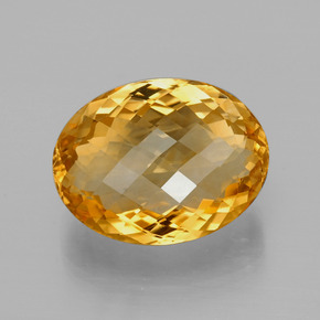 Yellow Golden Citrine Gem - 25.1ct Oval Checkerboard (ID: 396919)