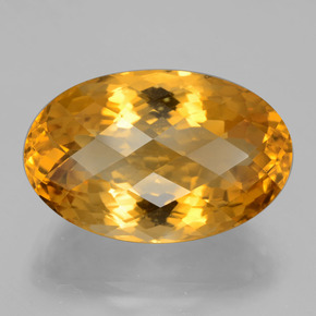 23.27 ct Oval Checkerboard Yellow Golden Citrine Gemstone 23.09 mm x 14.9 mm (Product ID: 397196)